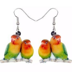 Lovebird Parrots 2D Acrylic Earrings